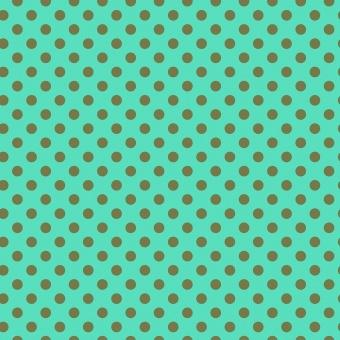 Agave Pom Poms  - All Stars by Tula Pink - Pünktchenstoff mit grünen Punkten auf Türkis