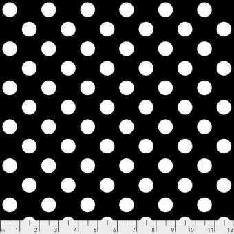 Ink Pom Poms Pünktchenstoff - Linework / All Stars Tula Pink Designerstoff - Weiß auf Schwarz FreeSpirit Patchworkstoffe