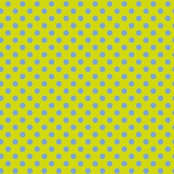Myrtle Pom Poms  - All Stars by Tula Pink - Pünktchenstoff mit blauen Punkten auf Grün-Gelb