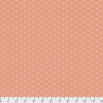 Peach Blossom Hexy Hexagonstoff - True Colors Tula Pink Basicstoffe - FreeSpirit Patchworkstoffe