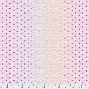 Shell Hexy Rainbow Hexagonstoff - True Colors Tula Pink Basicstoffe - FreeSpirit Patchworkstoffe