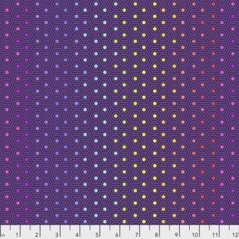 Starling Hexy Rainbow Hexagonstoff - True Colors Tula Pink Basicstoffe - FreeSpirit Patchworkstoffe