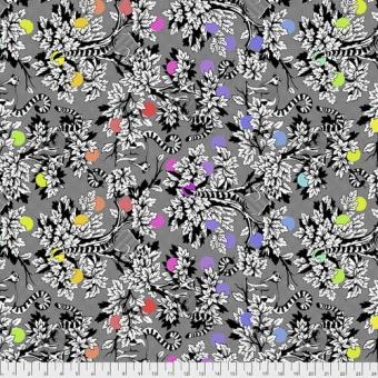 Ink Lemur me alone Tiermotivstoff / Lemurenstoff - Linework Tula Pink Designerstoff - Schwarz-Weiße FreeSpirit Patchworkstoffe
