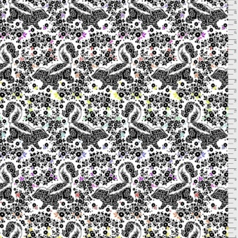 Paper Lil Stinker Stinktierstoff - Linework Tula Pink Designerstoff - Schwarz-Weiße FreeSpirit Patchworkstoffe - Tiermotivstoff