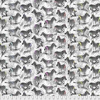 Paper Read Between the Lines Zebrastoff - Linework Tula Pink Designerstoff - Schwarz-Weiße FreeSpirit Patchworkstoffe - Tiermotivstoff