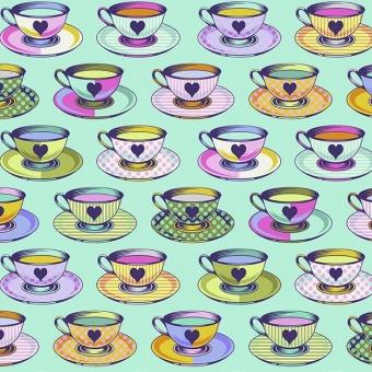 Daydream Tea Time Teetassen-Motivstoff - Curiouser and Curiouser Tula Pink - FreeSpirit Alice in Wonderland Patchworkstoffe  - VORBESTELLUNG!