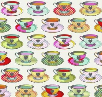 Sugar Tea Time Teetassen-Motivstoff - Curiouser and Curiouser Tula Pink - FreeSpirit Alice in Wonderland Patchworkstoffe