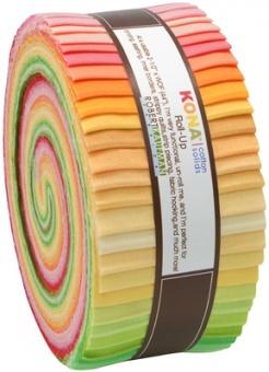 "2 1/2"" Stoffschnecke - Sunrise Palette Kona Cotton Solids Roll-Up"