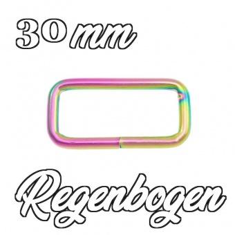 Regenbogen 30mm Vierkantring - Metall-Schlaufe 3cm Rainbow Schnalle