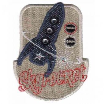 Raketen Flicken - Unisex Aufnäher / Bügelapplikation mit Jeans & Strasssteinchen