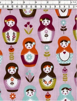 Babuschkastoff - Purple Little Matryoshka - Riley Blake