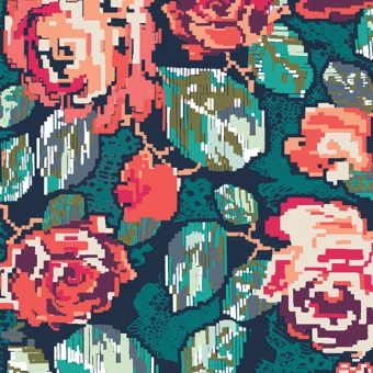 Rosenstoff Lachs-Petrol - Flower Engrams Ornagte - Recollection by Art Gallery Fabrics