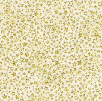 Creme-Goldener Weihnachtsstoff mit Sternen & Sternchen - Ivory Holiday Charms Metallic-Patchworkstoffe von Robert Kaufman