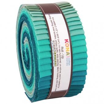 """2 1/2"""" Stoffschnecke - Midnight Oasis Designer Palette - Kona Cotton Solids Roll-Up"""