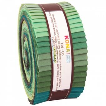 "2 1/2"" Stoffschnecke - Spring Meadow Palette - Kona Cotton Solids Roll-Up Grüntöne"