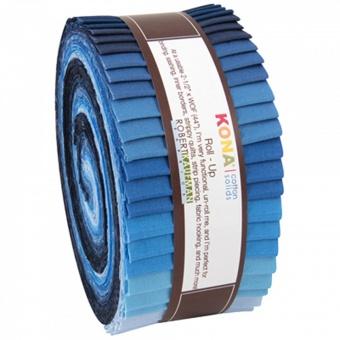"""2 1/2"""" Stoffschnecke """"Dusk to Dawn"""" - Kona Cotton Solids Roll-Up  Blautöne"""