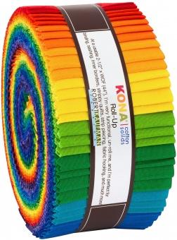 "2 1/2"" Stoffschnecke - Bright Rainbow Kona Cotton Solids Roll-Up"