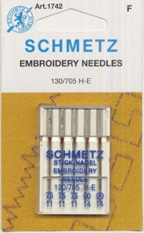 Sticknadel - Machine Embroidery Needles - SCHMETZ Nähmaschinen Stick-Nadel H-E 75-90