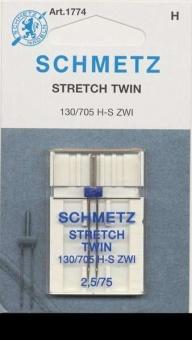 Stretch Zwillingsnadel - Schmetz Nähmaschinennadel 130/705 H-S ZWI 2,5mm / 75