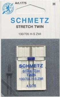 Stretch Zwillingsnadel - Schmetz Nähmaschinennadel 130/705 H-S ZWI 4,0mm / 75