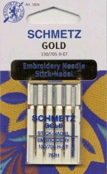 Gold Stick-Nadel - Schmetz Titan Nähmaschinensticknadeln No. 75 / 11 - 130/705 H-ET