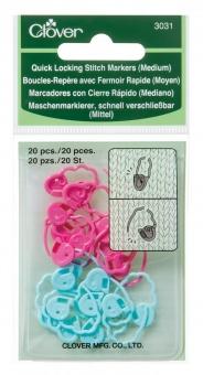 20 schnell verschließbare Maschenmarkierer Set in Schäfchenform - Clover Medium Stitch Markers