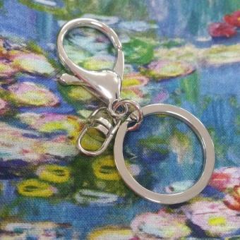 Schlüsselkarabiner mit Spaltring & Drehgelenk - Silberner Schlüsselanhänger-Rohling