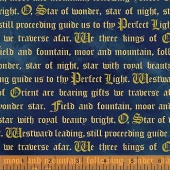 Blauer Schriftstoff - Mittelaltermarkt Golddruck Cosplaystoff - Three Kings Weihnachtsstoff