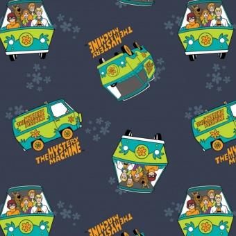 Navy Scooby Doo & Gang Mystery Machine Comicstoff - Original Motivstoff - Warner Brothers Lizenzstoff