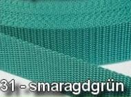 30mm Diverse Farben Gurtband / Gurtbänder Polypropylen - 3cm Smaragdgrün