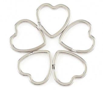 Silberner Herzchen-Spaltring - Metall-Schlüsselring in Herz-Form