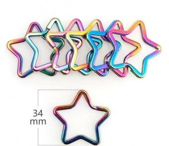 Regenbogen Sternchen-Spaltring - Metall-Schlüsselring in Stern-Form