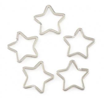 Silberner Sternchen-Spaltring - Metall-Schlüsselring in Stern-Form