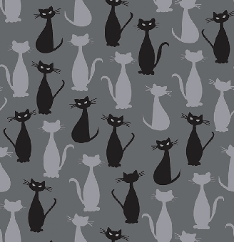 Schwarz-Grauer Katzenstoff - Charcoal Cats Spooky Hollow by Melissa Mortenson - Riley Blake Designs Motivstoff