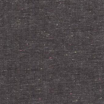 Charcoal Neon Neppy Yarn Dyed Woven Patchworkstoff - Dunkelgrauer, weicher,  gewebter Baumwollstoff mit dezenten NEON Farbspeckles