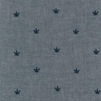 Cannabis American Minis Indigo Marijuana Chambray Union - Weich fließender Stoff - Robert Kaufman Webstoff