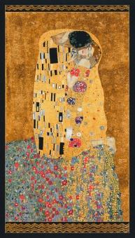 """PANEL! Gustav Klimt Collection """"Der Kuss"""" Metallicstoff -  """"The Kiss"""" Patchworkstoff mit Liebespaar"""