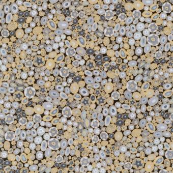 Gustav Klimt Collection Metallicstoff - Grey Circles Patchworkstoff mit Kreisen / Blüten mit Gold & Silberdruck