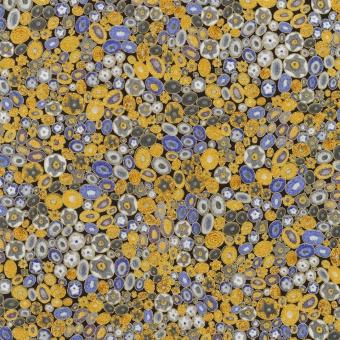 Gustav Klimt Collection Metallicstoff - Cobalt Circles Patchworkstoff mit Kreisen / Blüten