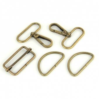 Antikgoldenes Handtaschenset - Antique Gold Taschenbeschläge: D-Ringe, Karabiner & Leiterschnalle