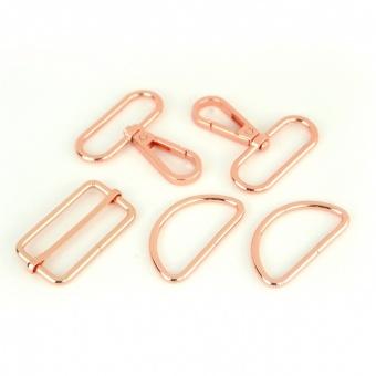 Roségoldenes Handtaschenset - Rose Gold Taschenbeschläge: D-Ringe, Karabiner & Leiterschnalle