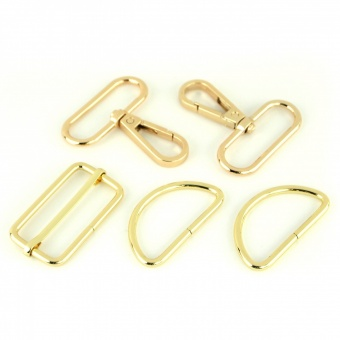 Goldenes Handtaschenset -Gold Taschenbeschläge: D-Ringe, Karabiner & Leiterschnalle