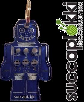 Mini Roboter Nadelmaß Schlüsselanhänger für Stricknadeln - Ropotti Stricknadelmaß - Succaplokki
