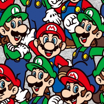 Super Mario Brothers Motivstoff - Nintendo Lizenzstoff - Patchworkstoff mit Luigi & Mario