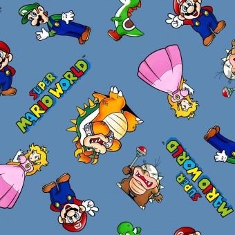 Super Mario Brothers Motivstoff - Nintendo Lizenzstoff - Patchworkstoff mit Luigi, Yoshi, Prinzessin Peach, Toadstool, Bowser uvm.