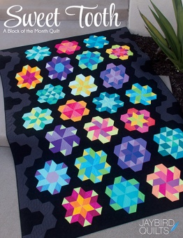Sweet Tooth Patchworkdecke Block des Monats - Super Sidekick & Hex'n'More Ruler Block of the Month Jaybird Quilts