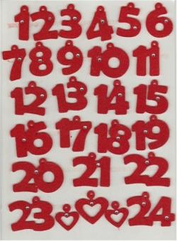 Filzzahlen für den Adventkalender - Rot mit Strass