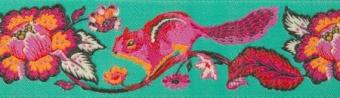 Eichhörnchen Webband von Tula Pink - Chipper Orange on Turquoise Chipmunk Owl Renaissance Ribbon