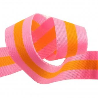 Bright Soft Pink and Tangerine Orange Tula Pink Designer Webbing - Renaissance Ribbons 38mm Gurtband-Set -  1 1/4 inch Striped Strapping - 2 yards / 1,8m - VORBESTELLUNG! ca. Oktober / November 2021
