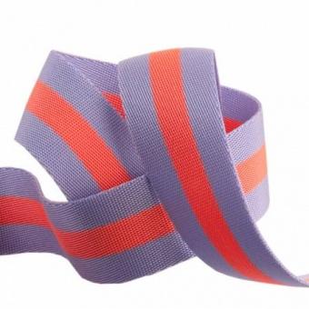 Lavender and Pink Tula Pink Designer Webbing - Renaissance Ribbons 38mm Gurtband-Set -  1 1/4 inch Striped Strapping - 2 yards / 1,8m - VORBESTELLUNG! ca. Oktober / November 2021